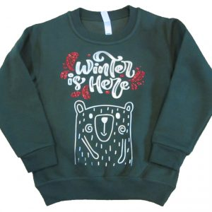 Medvés csillogó mintás pulóver