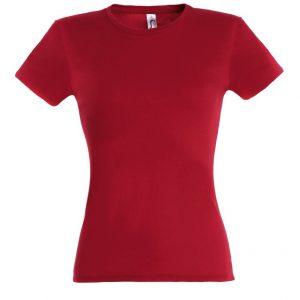 piros női testhezálló póló